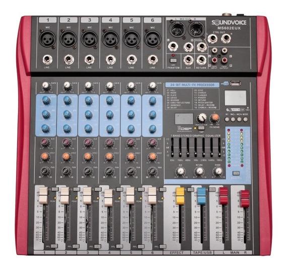 Mesa De Som 6 Canais Ms602eux Soundvoice Efeito/usb/equaliz