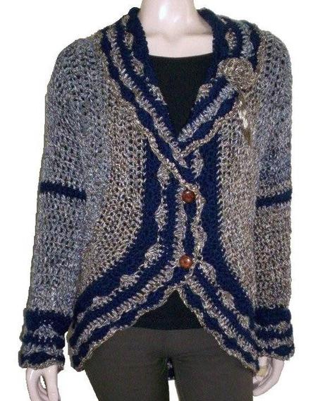 Saco Liviano Tejido A Mano Crochet Exclusivo Mujer Otoño