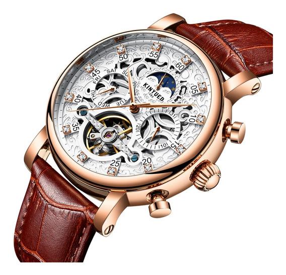 Reloj Mecánico Automático Correa De Cuero Impermeable Reloj