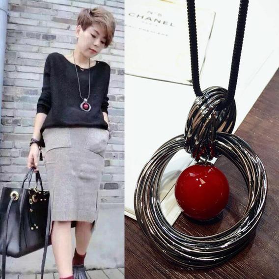 Colar Longo Feminino - Pérola Vermelha (fashion)
