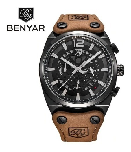 Relógio Masculino Benyar Cronógrafo Funcional Couro Original