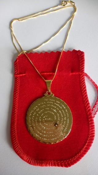Corrente Com Medalha De Oração Pai Nosso Banhado Ouro 18k