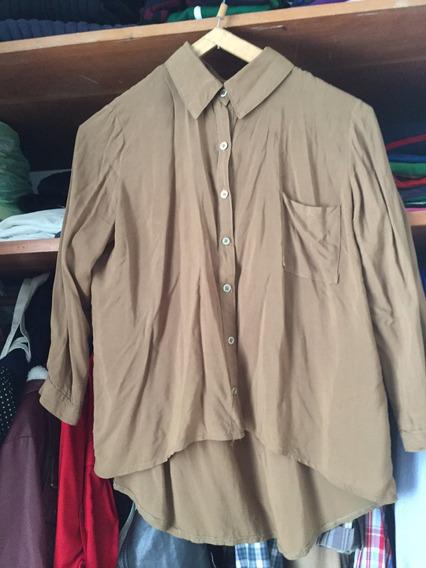 Camisa Mujer Tipo Seda Fría Verde Militar
