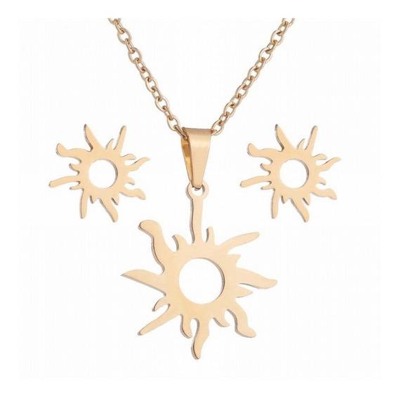 Collar Con Aretes Sol De Acero Inoxidable Original Calidad