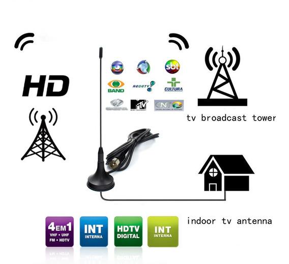 Antena Tv Uhf Interna Vhf Fm Canais Aberto Full Hd 1080p