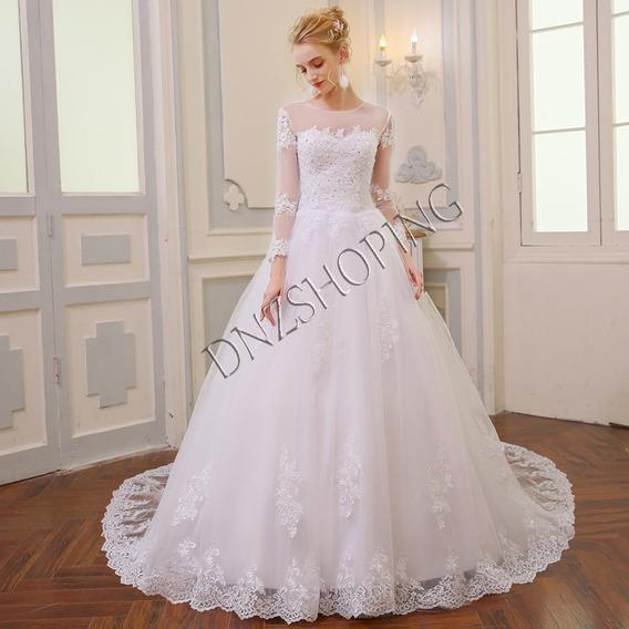 Vestido De Noiva Cauda Capela + Frete Grátis