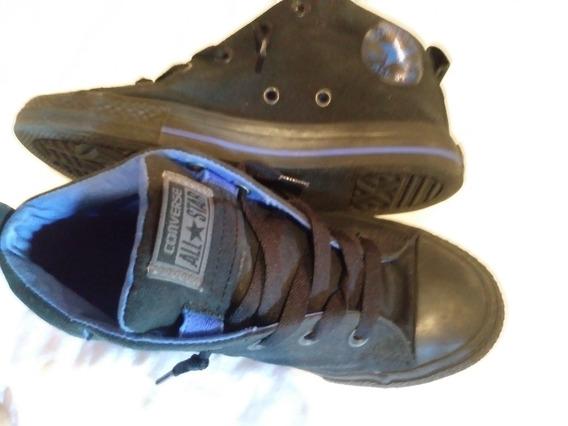 Botines Converse Originales Talla3 / 35 Negro Y Azul