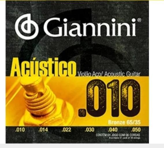Caixa 12 Encordoamento Violão Giannini Aço 010 Jogo Geswam