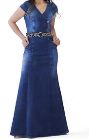 Vestido Longo Jeans Lançamento Acompanha Cinto Moda Feminina