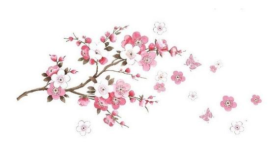 Adesivo Decorativo De Flores E Borboletas Para Parede