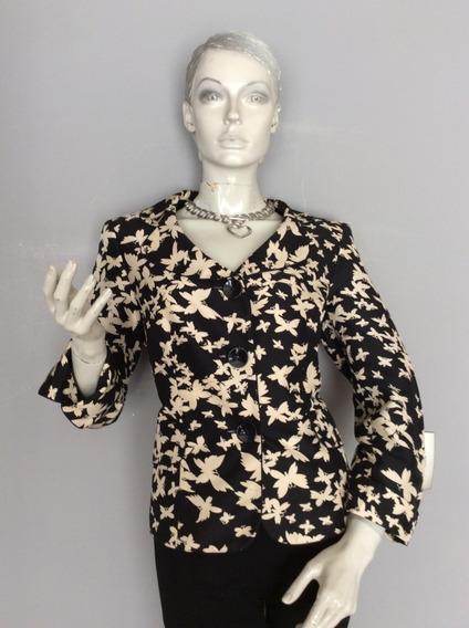 Po Blazer Negro Con Diseño De Mariposas, Talla Xl.