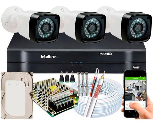 Kit Cftv 3 Cameras Segurança 1080p Full Hd Dvr Intelbras 4ch