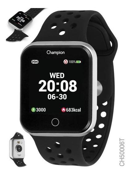 Relogio Smart Watch Champion Unissex Ch50006t Prata C/ Preto