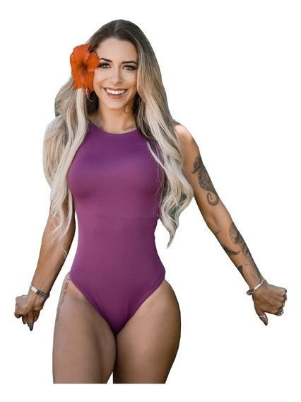 Maiô Body Feminino Liso Comportado Moda Praia Forrado