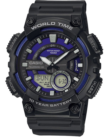 Reloj Casio Worltime 10y Aeq110w2a2vcf Time Square