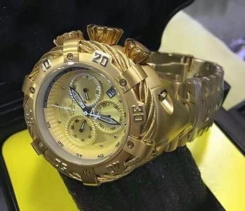 Relógio Masculino Dourado Grande Pesado De Aço Com Caixa