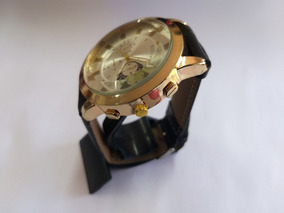 Relógio Masculino Dourado Com Pulseira De Couro Ecológico