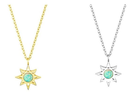 Colar Estrela Sirius Pedra De Opala Banhada A Ouro
