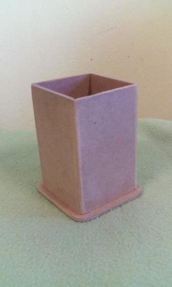 10 Lapiceros Portalapices 6x6x9 Cm Con Base Fibrofacil