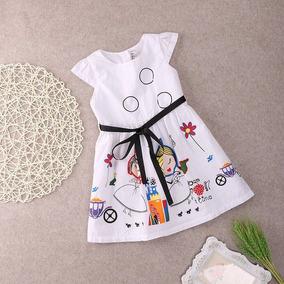 Vestido Infant Tecido Estampa Princesas 3 Ano Importado