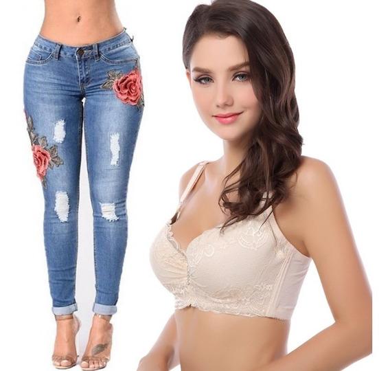 Calça Feminina Rasgada Aplique Floral + Sutiã Pushup Strass
