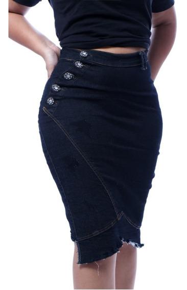 Roupas Femininas Saia Jeans Midi Moda Evangélica Botões 063