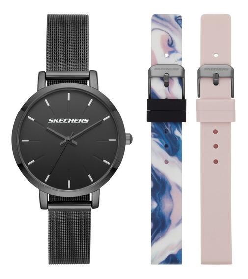 Set Reloj Dama Skechers Sr9028 Color Negro De Aleación
