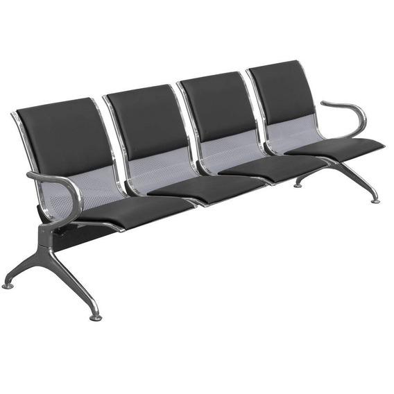 Cadeira Longarina Estofada Preta 4 Lugares - Frete Grátis