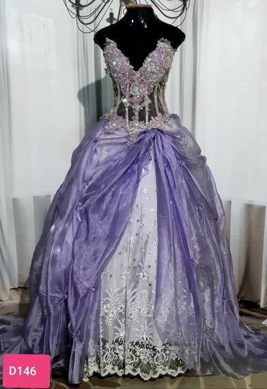 Vestido De Debutante, Usado, Costas Cruzada