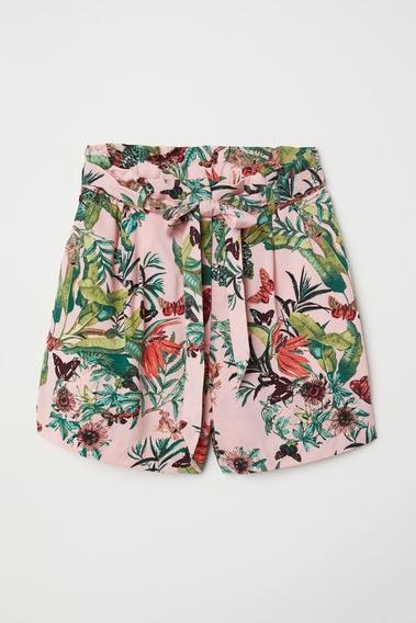 Shorts Rosa Estampado Floral Mariposas Mujer Niña