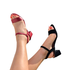 02 Sandálias Salto Médio Renata Mello 01 Preto/01vermelho
