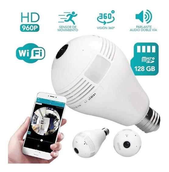 Lampara Led Camara Espia Wi Fi Vision 360 Grabacion Garantia