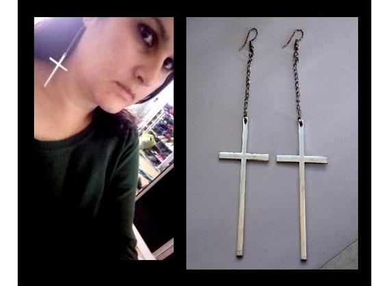 Brincos Crucifixo Goth Correntinha Grandes Frete Grátis