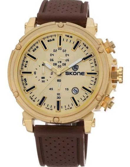 Relógio Masculino Dourado Pulseira Marrom 100% Funcional Top