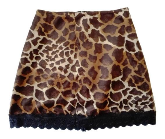 Pollera Minifalda Animal Print De Tercipelo Diseño Propio