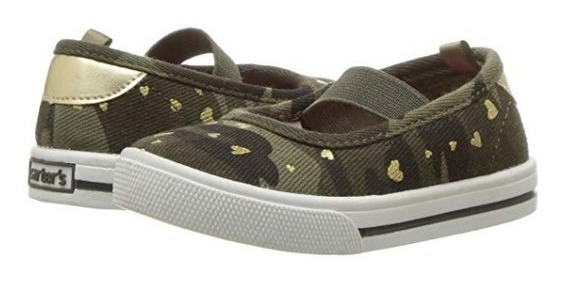 Zapatos Carters Verdes Camuflados Niña Nuevo Original Usa