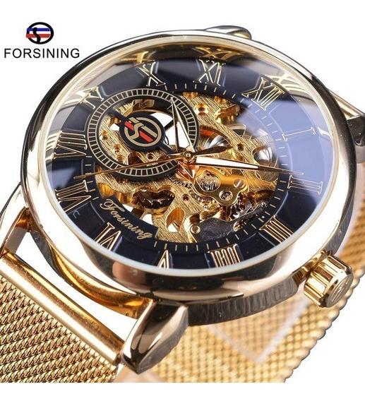 Relógio Masculino Forsining Transparente Social Luxo