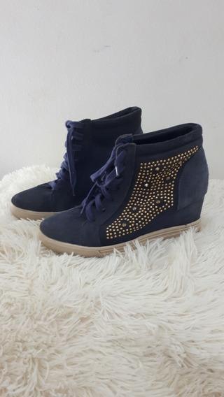 Tênis Sneaker Azul Tachinhas Douradas Via Marte
