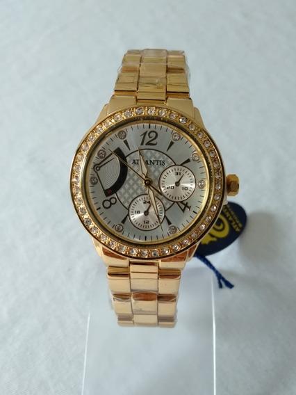 Relógio Feminino Dourado Atlantis 6221b Original