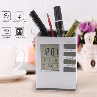 Porta Caneta Lápis Relógio Calendário Digital Termômetro C02