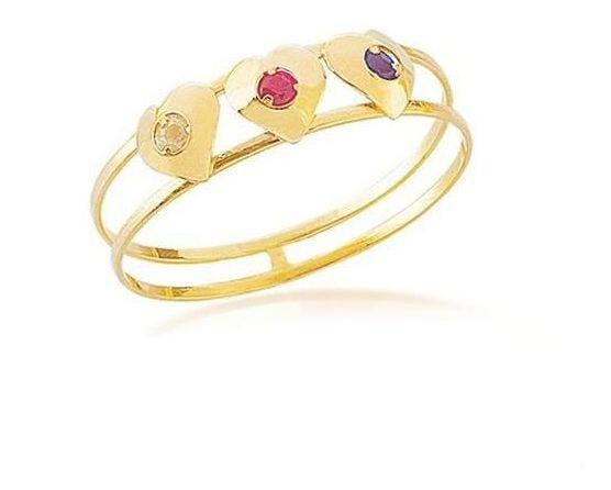 Anel De Ouro Corações Com Zicônias Multicoloridas An0392cl