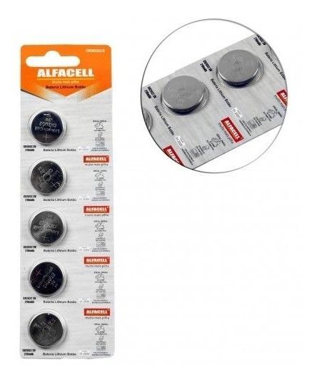 5 Cartelas Bateria Alfacell Cr2032 3v Moeda Com 5 Peças Cada