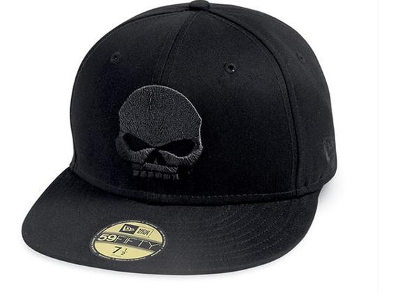 Harley Gorra Skull Black Label Talla 7 1/4 Mediana 57.7cm