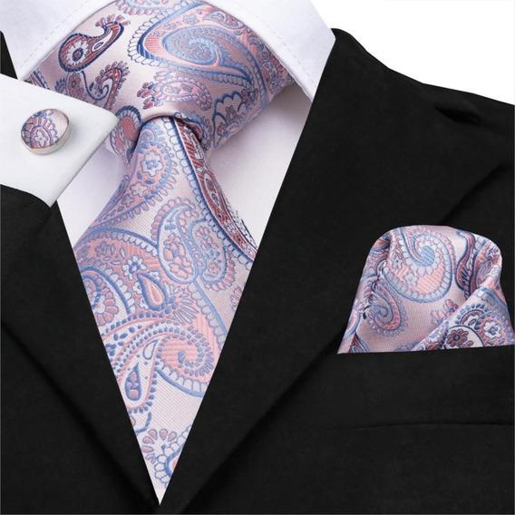 B3227 Seda | Corbata Pañuelo Mancuernillas | Lavanda Aperlado Azul Gargoleado | Buen Regalo