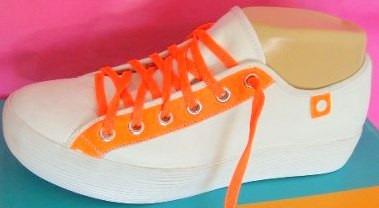 Viamo Zapatillas 36,37,38,39 Cuero Blanco Fluo Naranja