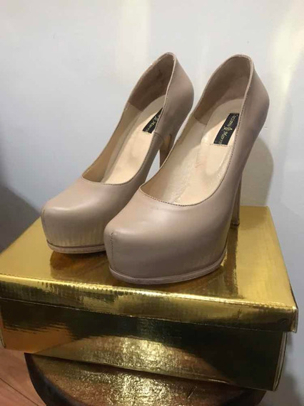 Zapatos Luciano Marra Taco Aguja Talle 38/39 Mujer.