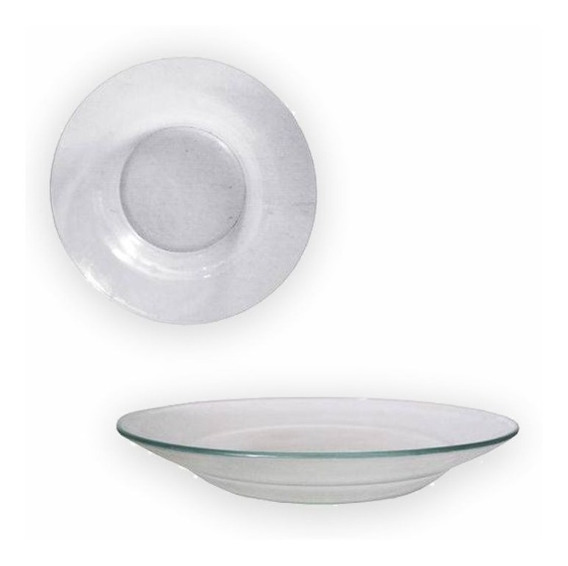 Kit Com 12 Prato Vidro Fundo 23cm Transparente Liso Cozinha