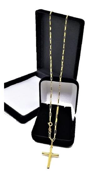 Correntinha Masculina De Ouro 18k Com Pingente Crucifixo 70cm
