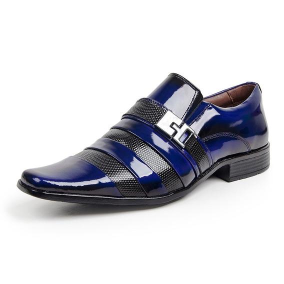 Sapato Social Verniz Dark Blue/colmeia Exclusivo Azul Gf