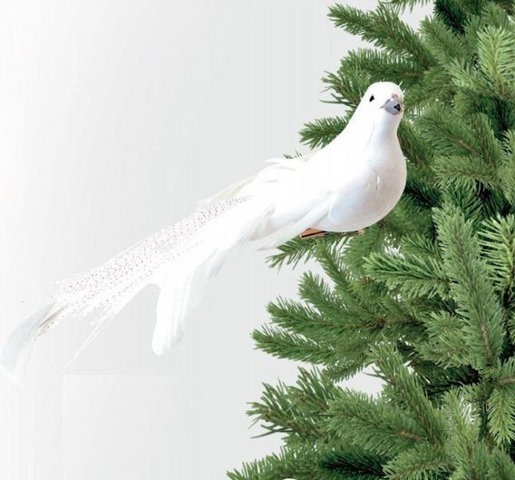 Pomba Branca 12cm Plumas Enfeite Árvore De Natal - C/6 Peças